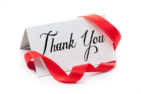 thank you: Thank you, handwritten label, isolated in white Stock Photo