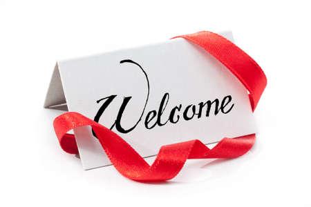 bienvenidos: Etiqueta bienvenida, manuscrito, aislado en blanco