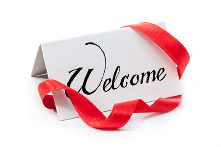welcome: Welcome, handwritten label, isolated in white