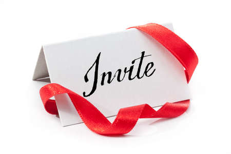 Invite, handwritten label, isolated in white photo