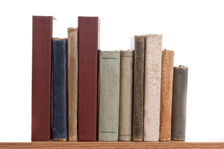 book shelf: books in a row, isolated on white background
