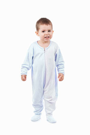 rompers: Toddle en pijama aislado en blanco Foto de archivo