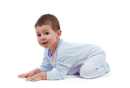 rompers: Toddle in pajamas all fours, isolated on white