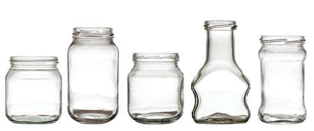 recipient: Collection of empty transparent glass bottle isolated on white