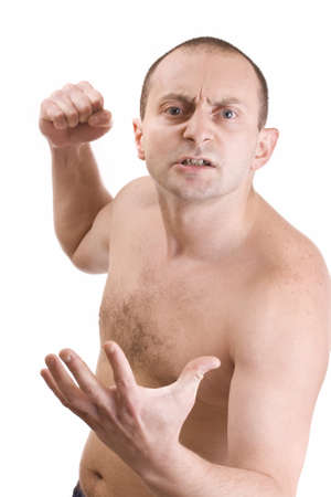 Aggressive man showing his fist  photo