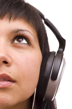 Happy woman with headphones, listen to music, isolated in white background photo