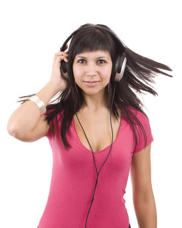 Happy woman with headphones, listen to music and dancing. Isolated on white background Stock Photo - 9024336
