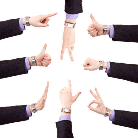 Business man hand gestures set, isolated in white photo