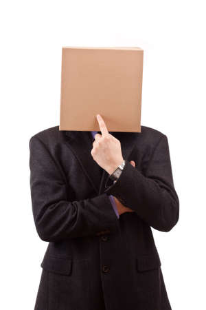 Businessman with a brown box on his head, isolated in white photo