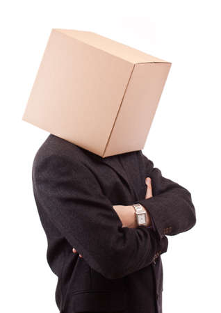 Businessman with a brown box on his head, isolated photo