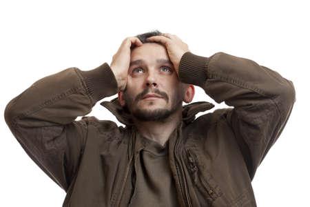 sad man: Un retrato de un hombre triste. Aislados en blanco  Foto de archivo