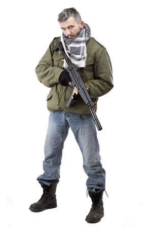 terrorists: Terrorist with rifle, isolated on white background