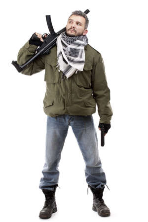 shemagh: Terrorist with rifle, isolated on white background