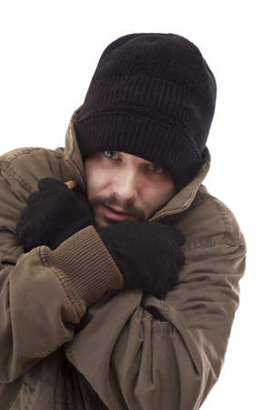 Homeless man be cold, isolated on white background photo