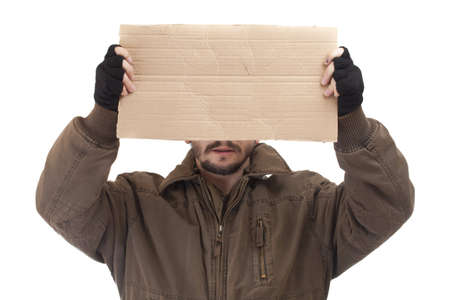 tramp: A beggar holding carton suitable for adding text, isolated on white background