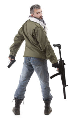 kidnapper: Terrorist with rifle, isolated on white background