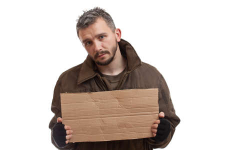 A beggar holding carton suitable for adding text, isolated on white background photo