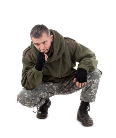 paramilitary: Paramilitary soldier thinking, isolated in white background