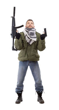 paramilitary: Terrorist with rifle, isolated on white background