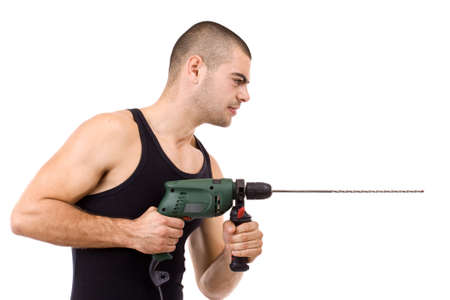 hand drill: Closeup portrait of a young man drilling, isolated in white