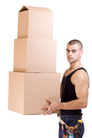 Man struggling while lifting lots of cardboard boxes - moving concept Stock Photo - 9024646