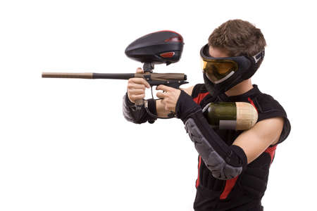 paintball: Closeup paintball player, isolated in white