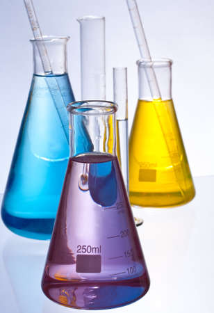 matrass: chemical laboratory glassware equipment with color liquid