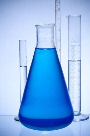 chemical laboratory glassware equipment with color liquid photo