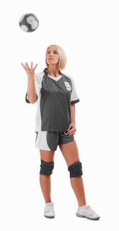 whit: Female handball player playing whit ball