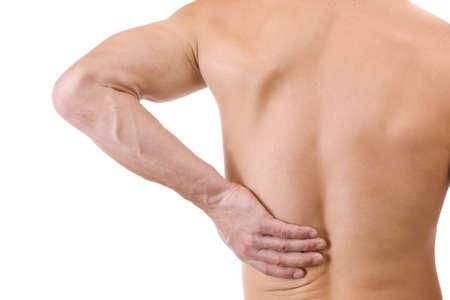 dolor de espalda: Hombre joven con dolor de espalda, aislado en blanco Foto de archivo
