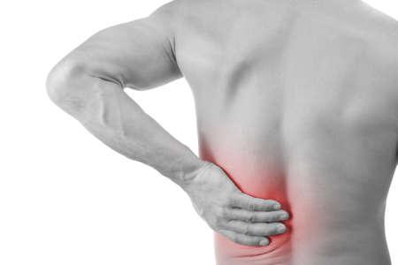 epaule douleur: Jeune homme avec des douleurs au dos, isol� en blanc