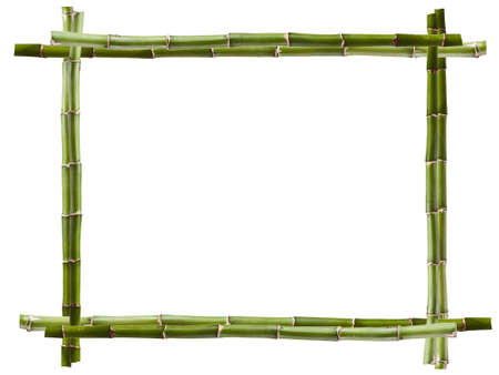 bamboo frame made of stems on white  photo