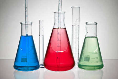 chemical laboratory glassware equipment with color liquid Stock Photo - 9414068
