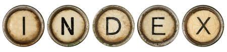 Index, close up on old grunge typewriter keys  Stock Photo - 9414161