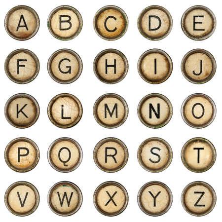 llaves: Alfabeto, claves de m�quina de escribir de grunge en fondo blanco