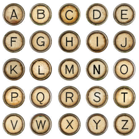 Alphabet, grunge typewriter keys in white background photo