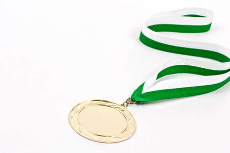 Blank winning medal, in white background photo