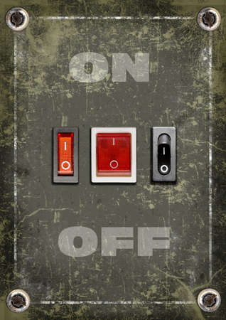 On-off switch buttons on grunge background  photo