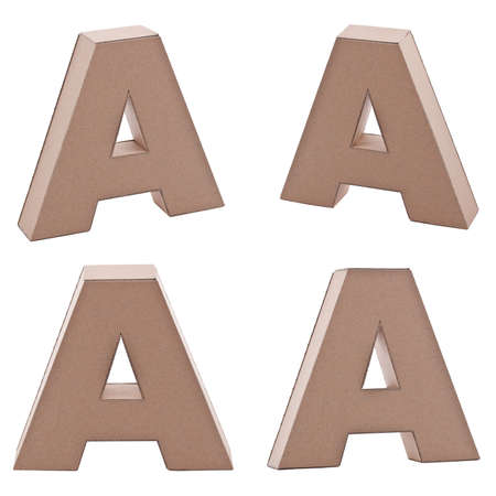 Cardboard letter A in various angle, on white background Stock Photo - 9718951