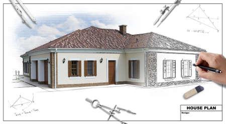 architect: Casa plan planos 2, mano del dise�ador