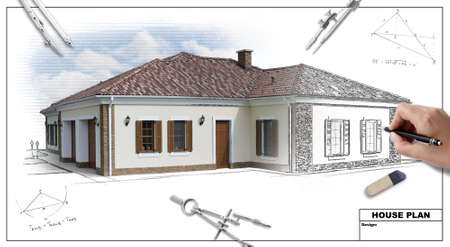 architect office: House plan blueprints 2, designers hand