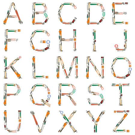Alphabet made of tools isolated on white  photo