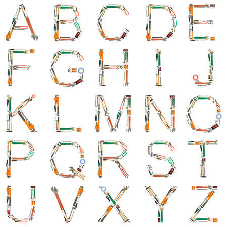 adjustable: Alphabet made of tools isolated on white  Stock Photo
