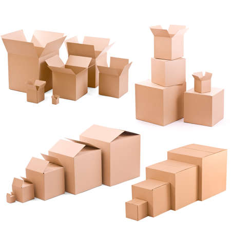 packaging move: piles of cardboard boxes collectio on a white background