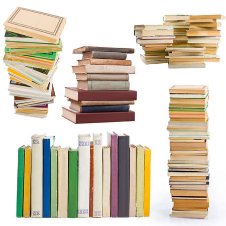pile of books collection - isolated on white background  photo