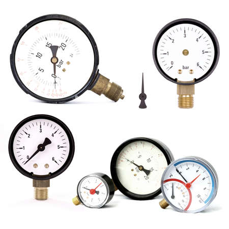 gas gauge: group of pressure meters isolated on white