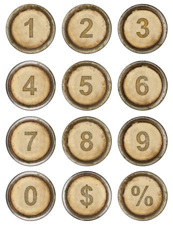 number button: Numbers, grunge typewriter keys in white background