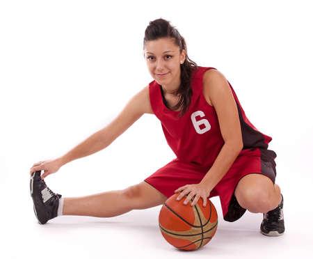 basketball girl: Jugador de baloncesto con la bola, aisladas sobre un fondo blanco