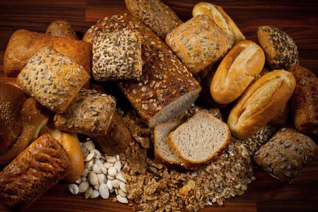 baked  goods: Assortment of baked goods in wood background