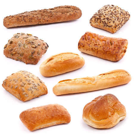 Assortment of different types of bread isolated on white background photo